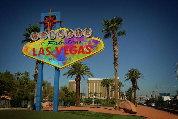 Wall Art - Photograph - Welcome To Las Vegas Sign Paint by Ricky Barnard