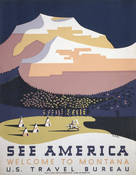 Wall Art - Mixed Media - Welcome To Montana - See America Wpa by War Is Hell Store