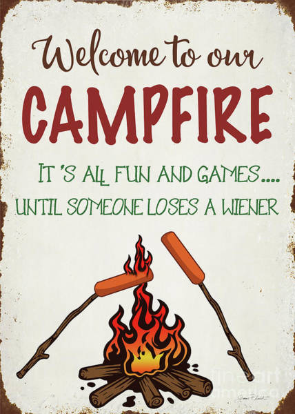 Welcome Sign Digital Art - Welcome To Our Campfire 1 by Jean Plout