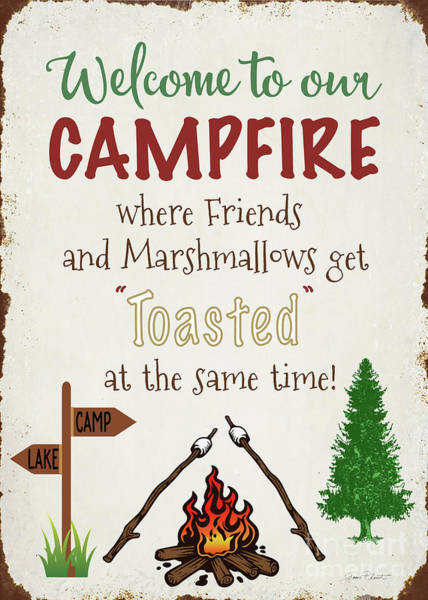 Welcome Sign Digital Art - Welcome To Our Campfire 2 by Jean Plout