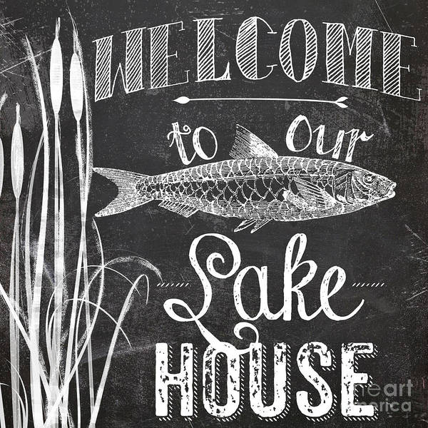 Rustic Painting - Welcome To Our Lake House Sign by Mindy Sommers
