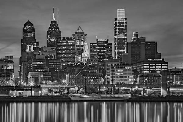 Photograph - Welcome To Penn's Landing Bw by Susan Candelario