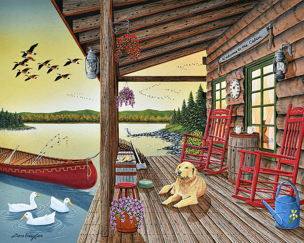 Rocking Chairs Painting - Welcome To The Cabin by Don Engler