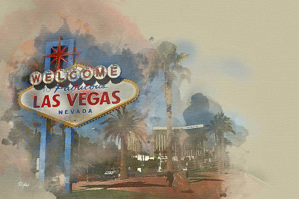 Wall Art - Digital Art - Welcome To Vegas by Paulette B Wright