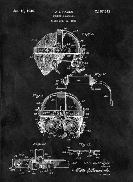 Punk Drawing - Welding Goggles Patent by Dan Sproul