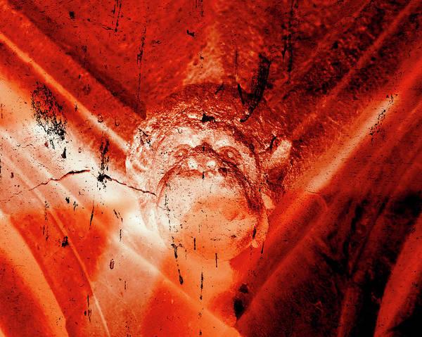 Photograph - Wells Cathedral Gargoyles Color Negative D by Jacek Wojnarowski