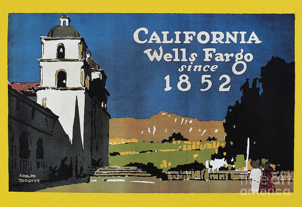 Mission Santa Barbara Photograph - Wells Fargo Banner, 1917 by Granger