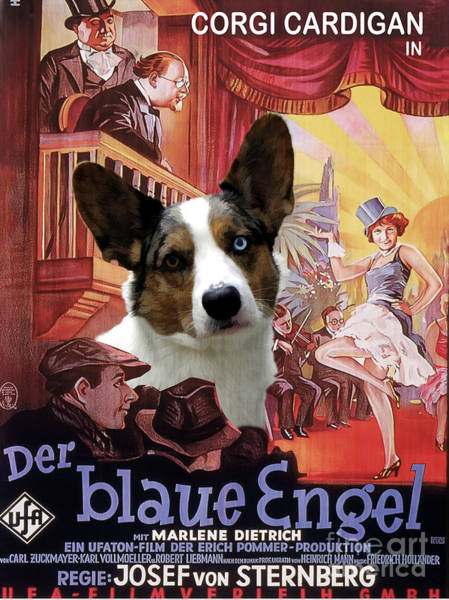 Engels Painting - Welsh Corgi Cardigan Art Canvas Print - Der Blaue Engel Movie Poster by Sandra Sij