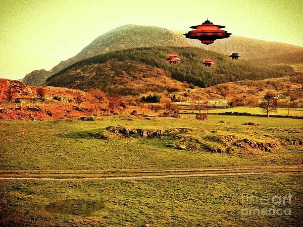 Scifi Digital Art - Welsh Mountains By Raphael Terra by Raphael Terra