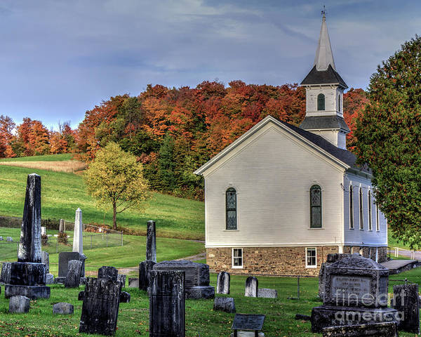 Photograph - Welsh Road Church In Fall by Rod Best