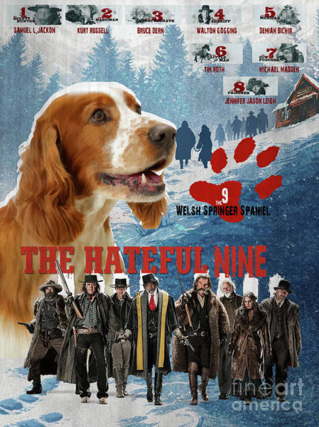 Welsh Springer Spaniel Painting - Welsh Springer Spaniel Art Canvas Print - The Hateful Eight Movie Poster by Sandra Sij