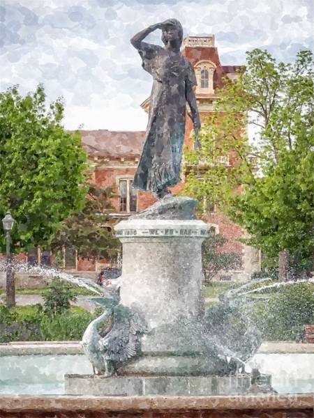 Photograph - Wenonah Fountain Painting Effect by Kari Yearous