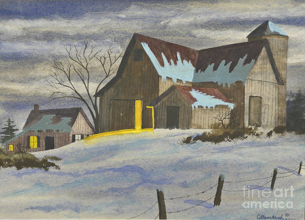 Barn Snow Painting - We're Home On The Farm by Charlotte Blanchard