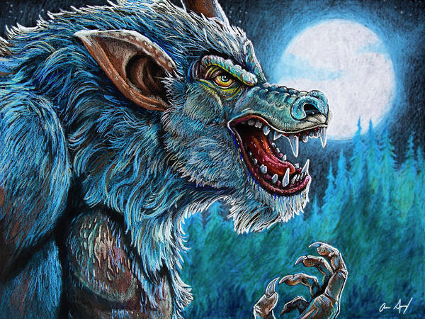 Nocturnal Drawing - Werewolf by Aaron Spong