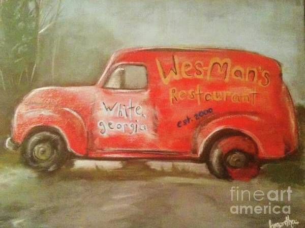 Samantha Painting - Wes Mans Truck  by Samantha Centers