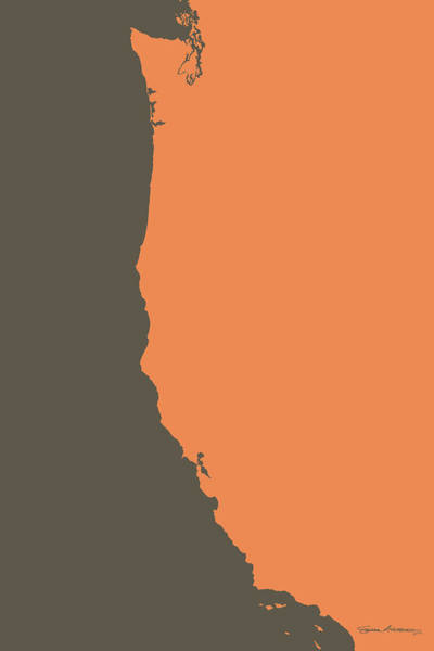 Digital Art - West Coast - Crusta Orange On Judge Grey Brown by Serge Averbukh
