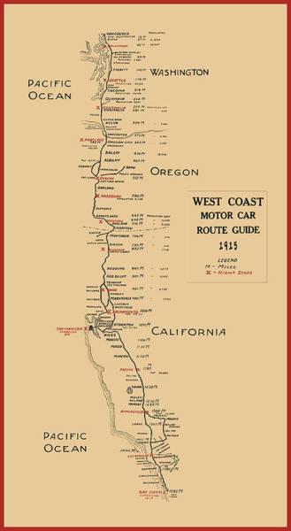 101 Digital Art - West Coast Motor Car Route Map  1915 by Daniel Hagerman