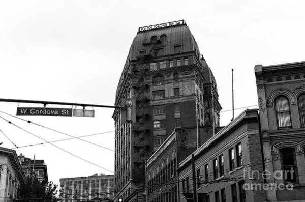 Wall Art - Photograph - West Cordova Street Buildings Mono by John Rizzuto
