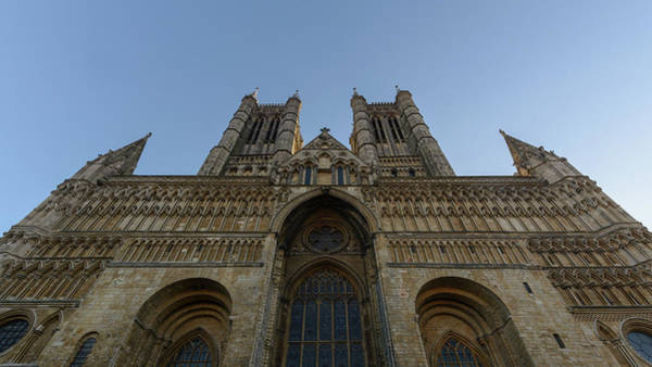 Photograph - West Facade Of Lincoln Cathedral Low Angle by Jacek Wojnarowski
