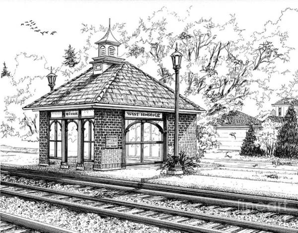 Drawing - West Hinsdale Train Station by Mary Palmer