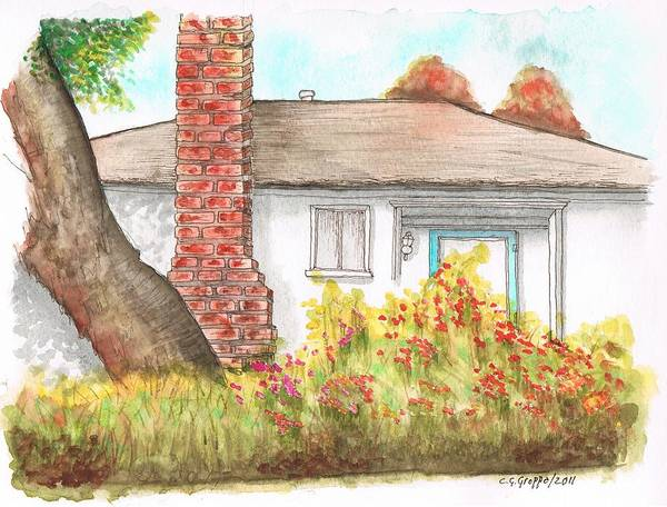 Acuarela Painting - West Hollywood House With Chimney - California by Carlos G Groppa