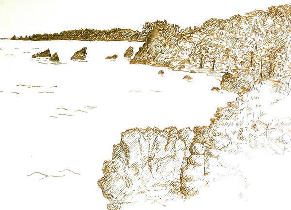 Trinidad Drawing - West Indies Black Rock Beach by Deborah Dendler