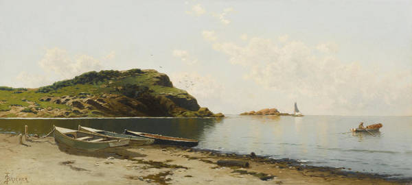 West Point Painting - West Island. Seaconnett Point. Rhode Island. A Sunny Day On The Coast by Alfred Thompson Bricher