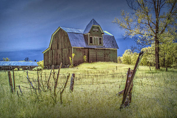 Photograph - West Michigan Barn With Barb Wire Fence In Infrared by Randall Nyhof