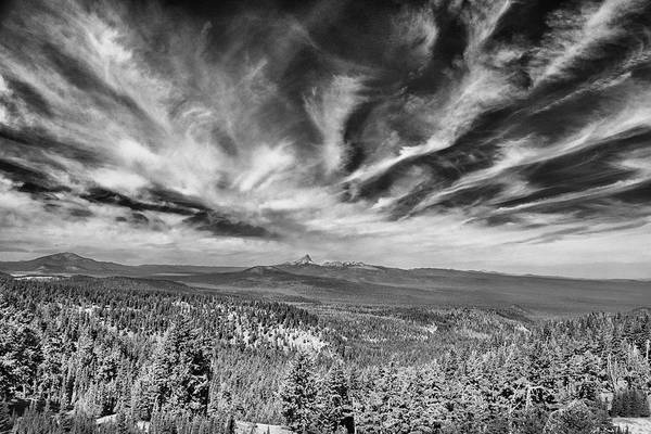 Photograph - West Of Crater Lake B W by Frank Wilson
