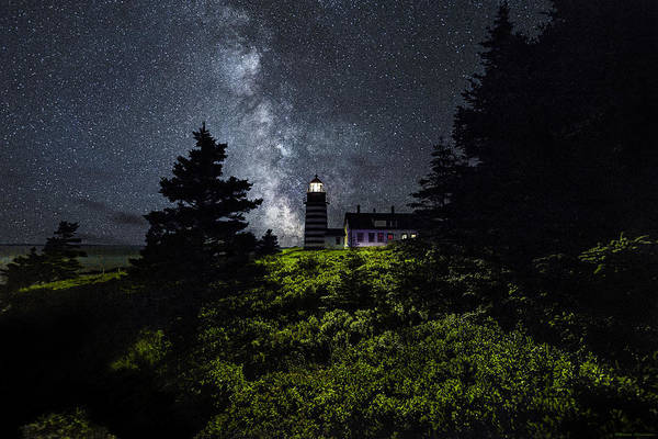 Photograph - West Quoddy Head Lighthouse With Milky Way Starscape by Marty Saccone