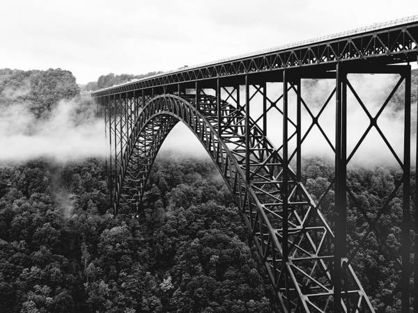 Black And White Photograph - West Virginia - New River Gorge Bridge by Brendan Reals