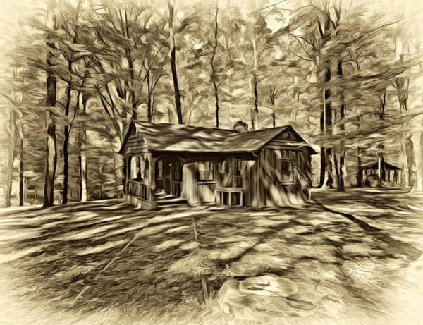 Civilian Conservation Corps Wall Art - Photograph - West Virginia Cabin - Paint Sepia by Steve Harrington