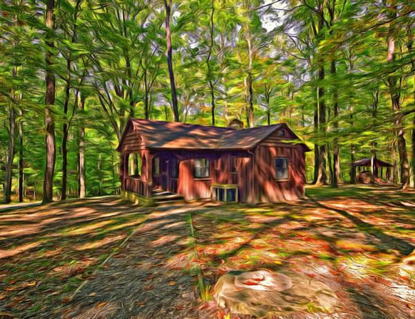 Civilian Conservation Corps Photograph - West Virginia Cabin - Paint by Steve Harrington