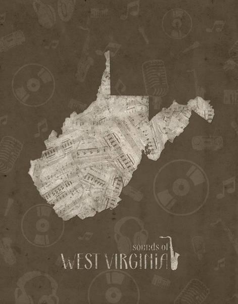 Charleston Digital Art - West Virginia Map Muisc Notes 3 by Bekim Art