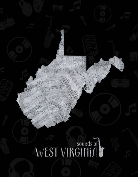 Charleston Digital Art - West Virginia Map Music Notes 2 by Bekim Art