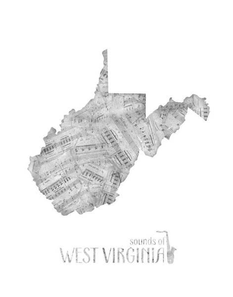 Charleston Digital Art - West Virginia Map Music Notes by Bekim Art