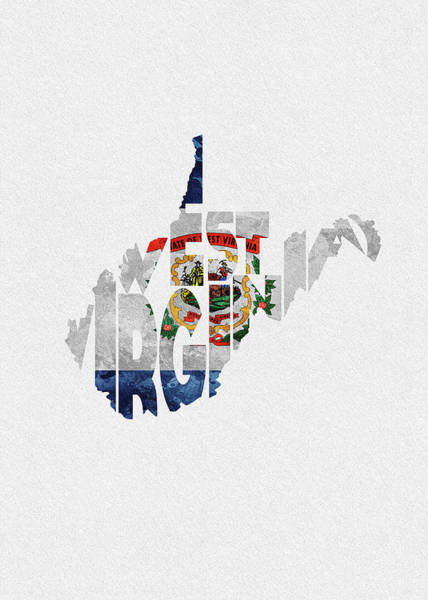 Digital Art - West Virginia Typographic Map Flag by Inspirowl Design