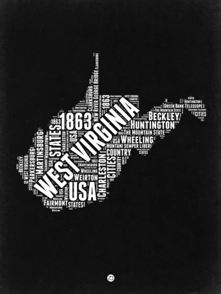 West Virginia Wall Art - Digital Art - West Virginia Word Cloud Black And White Map by Naxart Studio
