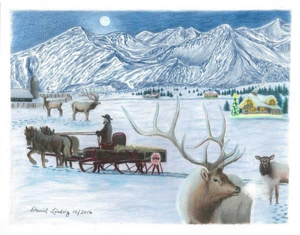 Elk Mountain Drawing - Westcliffe Wonderland by Daniel Lindvig