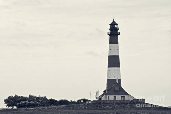 Photograph - Westerhever Lighthouse II B / W by Angela Doelling AD DESIGN Photo and PhotoArt