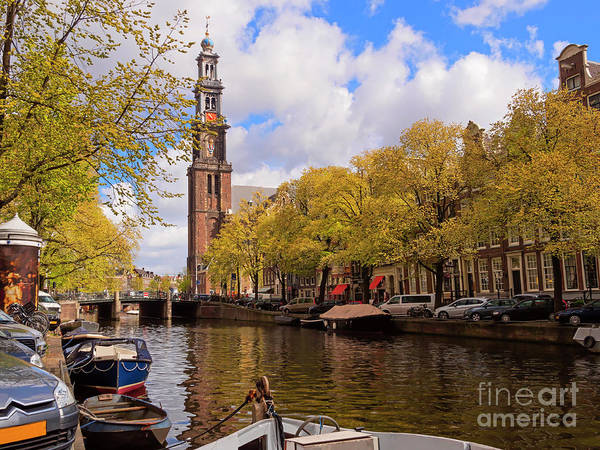 Prinsengracht Photograph - Westerkerk Church On Prinsengracht Canal Amsterdam by Louise Heusinkveld