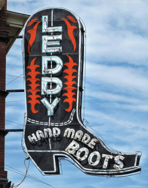 Wall Art - Photograph - Western Boot Sign by David and Carol Kelly