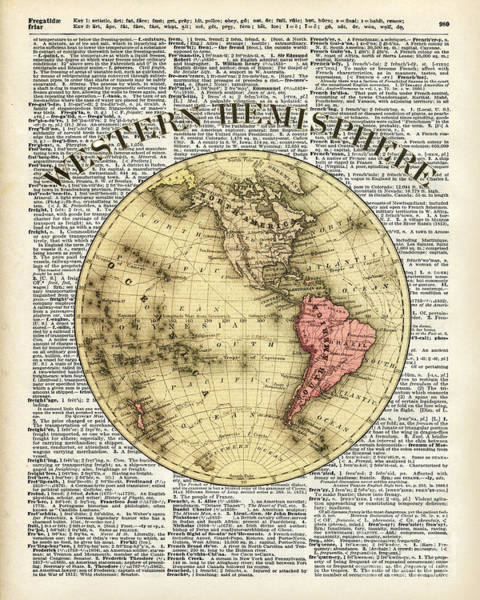Wall Art - Drawing - Western Hemisphere Earth Map  by Anna W