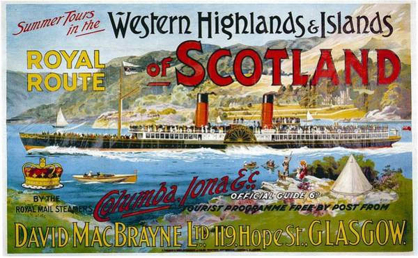 Island Mixed Media - Western Highlands And Islands Of Scotland - Steamship - Retro Travel Poster - Vintage Poster by Studio Grafiikka