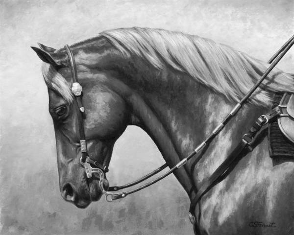 Wall Art - Painting - Western Horse Black And White by Crista Forest