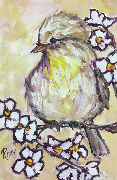 Flower Painting - Western Kingbird Chick  by Roxy Rich