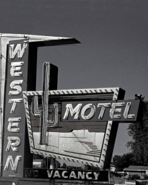 Photograph - Western Motel In Black And White by Matthew Bamberg