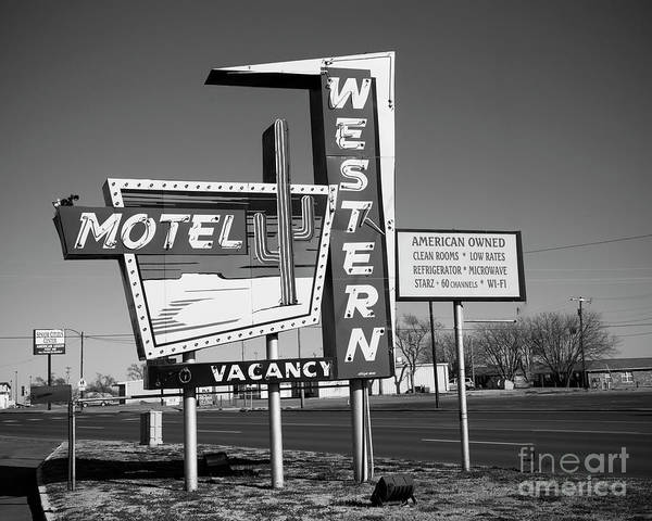 Wall Art - Photograph - Western Motel On Route 66 In Black And White by Twenty Two North Photography