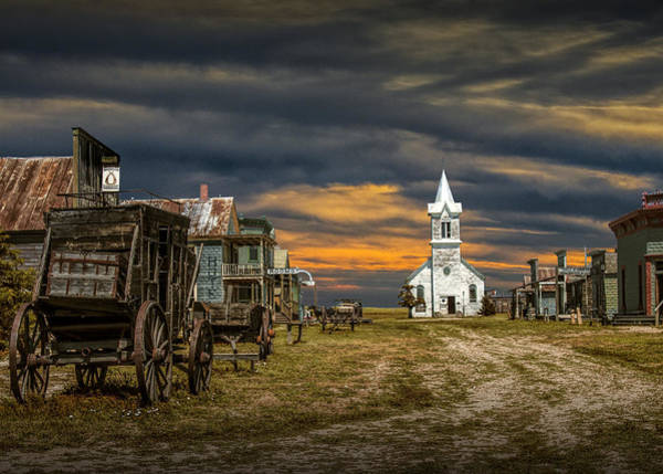 Photograph - Western Prairie 1880 Town In South Dakota At Sunset by Randall Nyhof