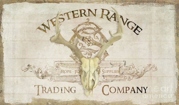 Wall Art - Painting - Western Range 3 Old West Deer Skull Wooden Sign Trading Company by Audrey Jeanne Roberts